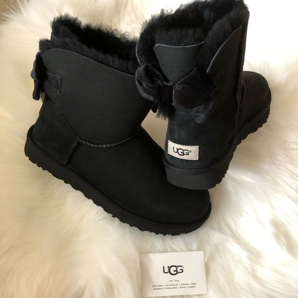 59ef38c045b UGG Mini Bailey Bow II Velvet Ribbon Boots Boutique
